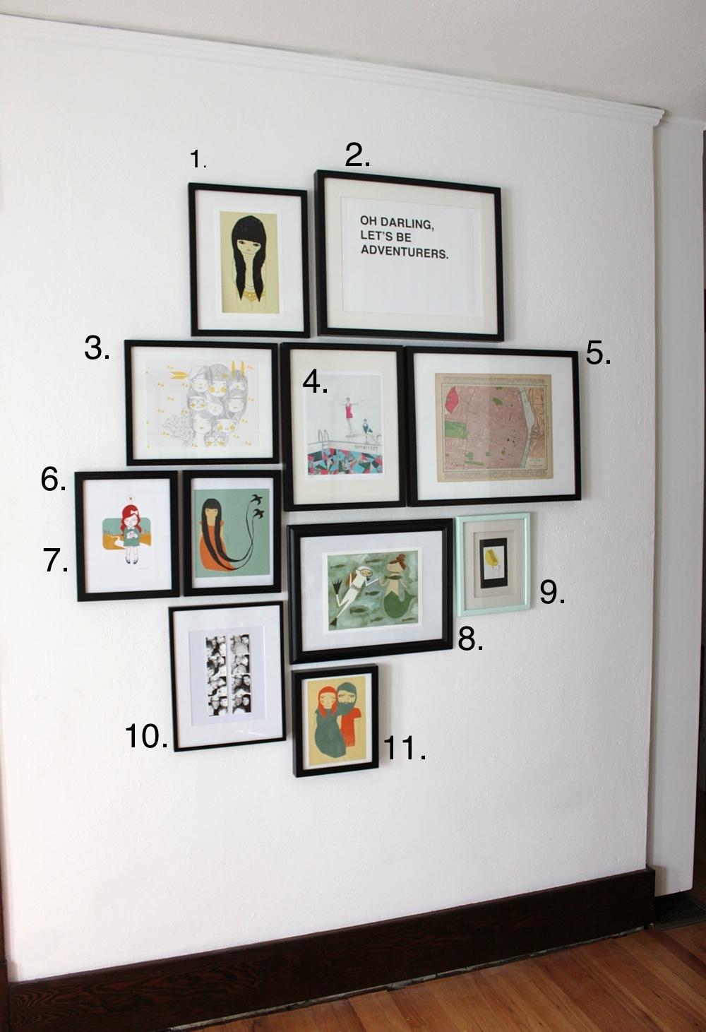 Схема развешиванияграфий на стене