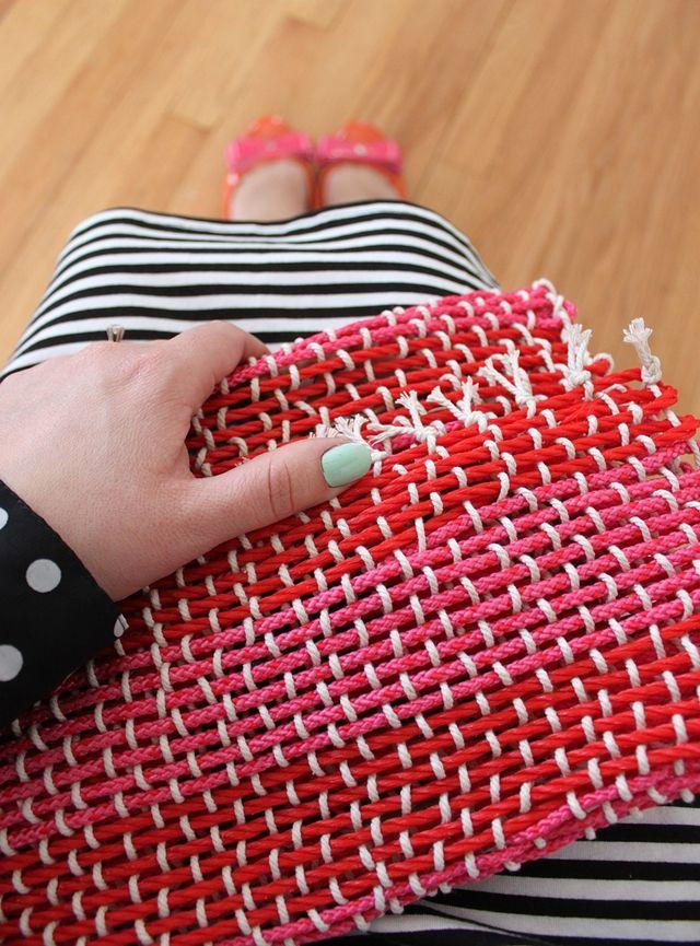 Pink woven clutch diy