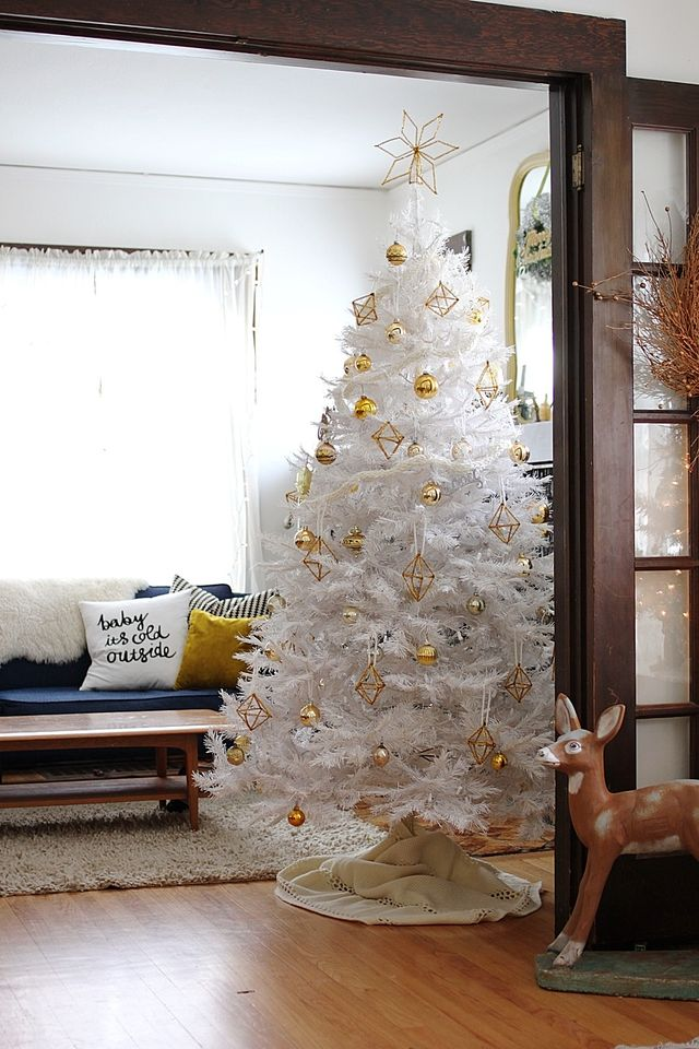 white christmas tree on smile and wave - White Christmas Tree With Gold Decorations