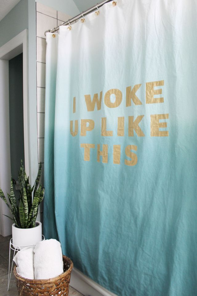 I woke up like this...so I need a shower. Make your own Statement Shower Curtain with the tutorial on www.abeautifulmess