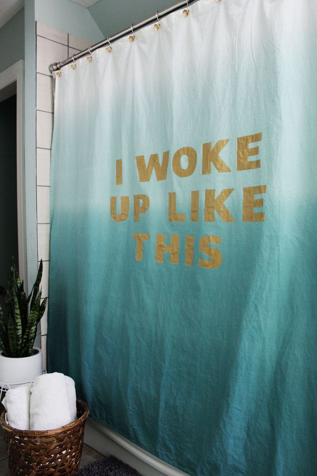 Sometimes only a shower can fix that situation. Statement Shower Curtain tutorial over on www.ABeautifulMess