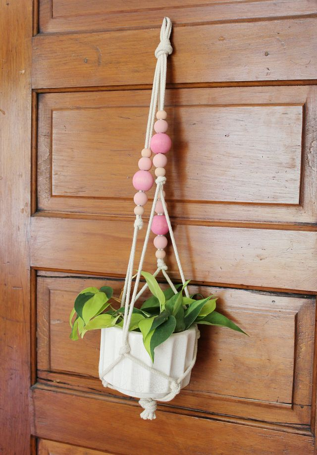 Colorful copper pipe hanging planter a beautiful mess for Colorful hanging planters