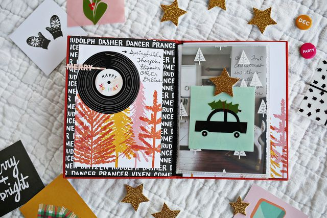 Christmas scrapbooking on the road with the December Messy Box from www.ABeautifulMess.com. See how simple it is to create fun pages with just a few color-coordinated supplies