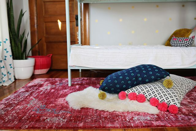 oversized pompom floor cushion