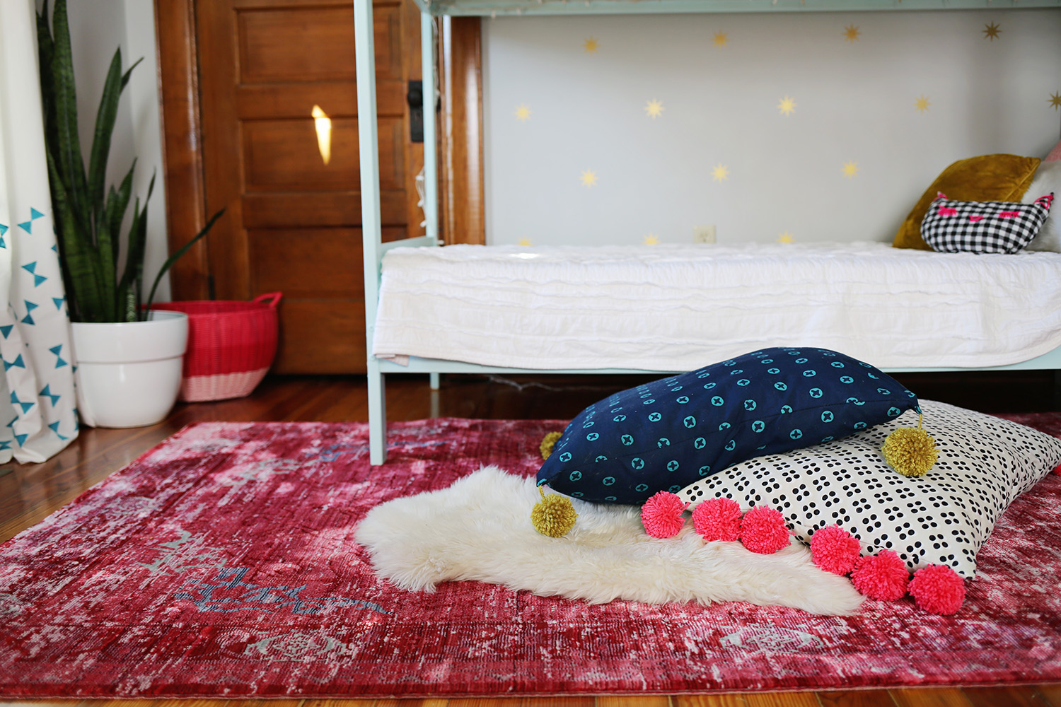 Floor Pillows with Pom Poms