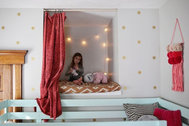 Ruby's reading nook with lights