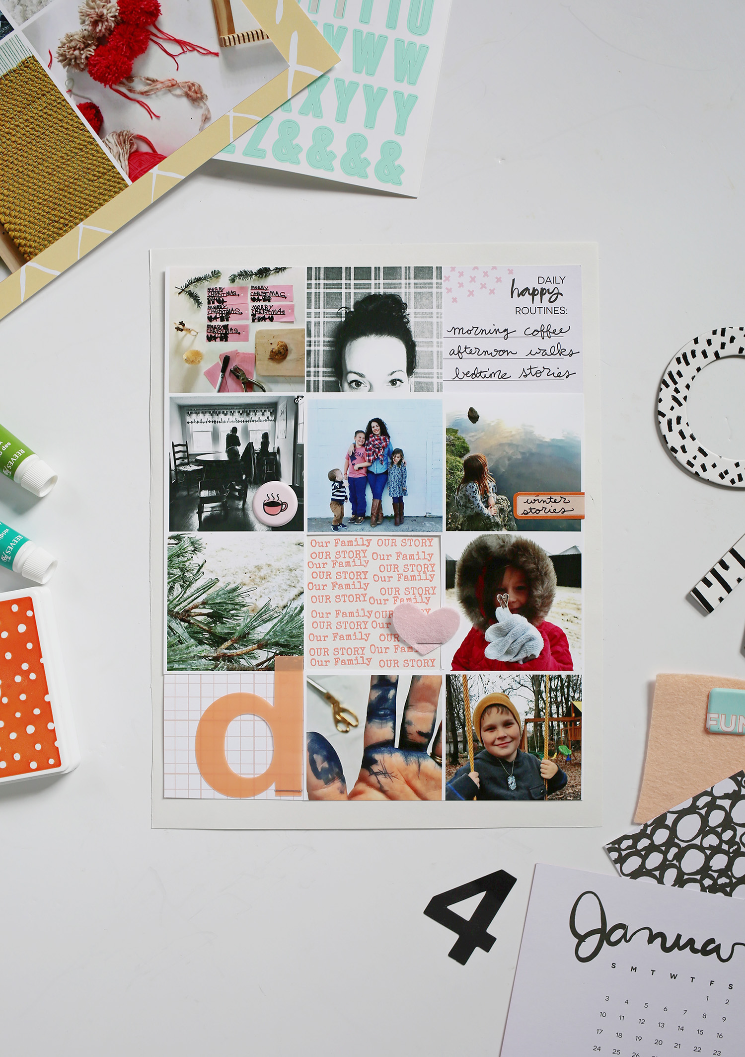 Create a photo collage in photoshop and add embellishments for a little more dimension. Get the full post over at www.aBeautifulMess.com