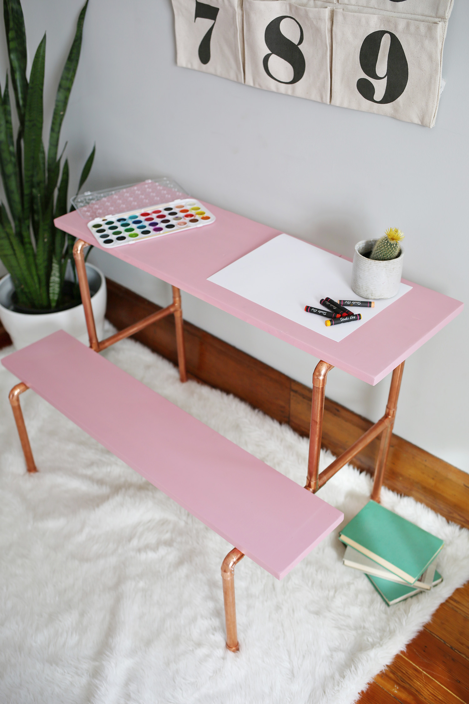 Copper desk diy for a beautiful mess smile and wave create a trendy copper pipe and blush pink childrens desk with this step by solutioingenieria
