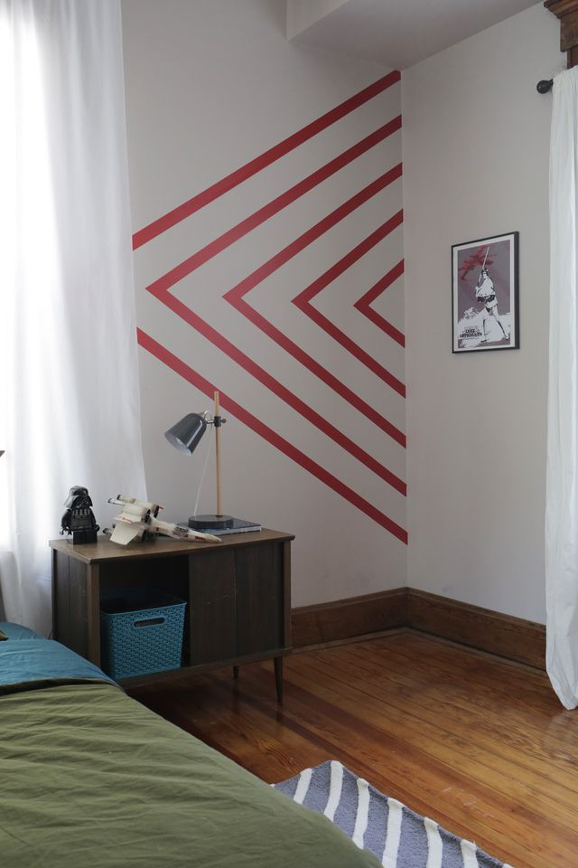 Create your own bold wall art with Walls Need Love's Easy Stripe removeable decals. See www.SmileandWaveDIY.com