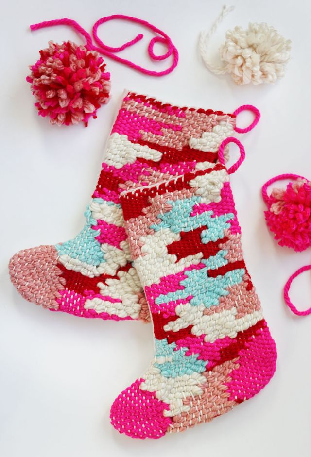 DIY Woven Christmas Stockings Tutorial | A Beautiful Mess
