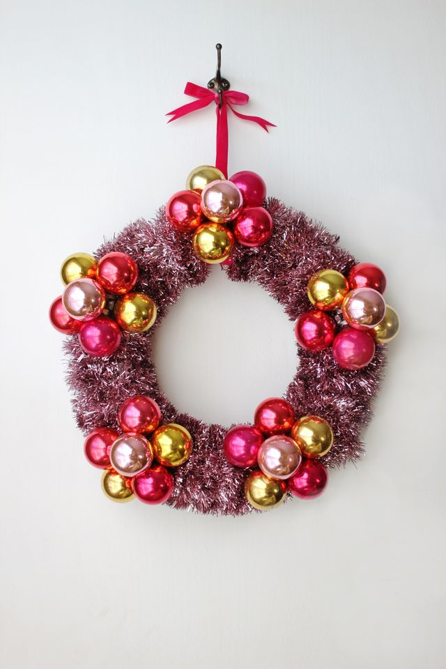 Flower Bauble Wreath made from vintage ornaments from Smileandwave.typepad.com