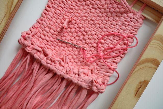 Hem the bottom of your weaving