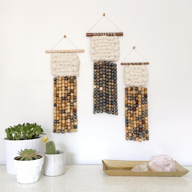Weaving Roving Wall Hanging Indigo Beads by Rachel Denbow