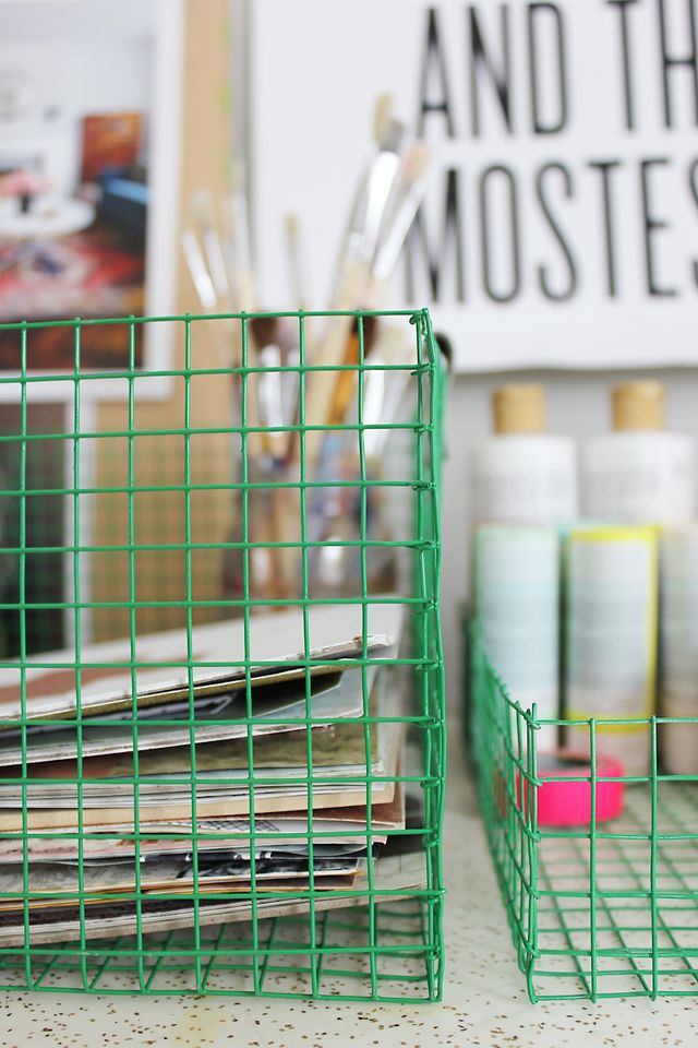 Make your own wire baskets and then spray paint them in your favorite shade. Get the details at www.aBeautifulMess