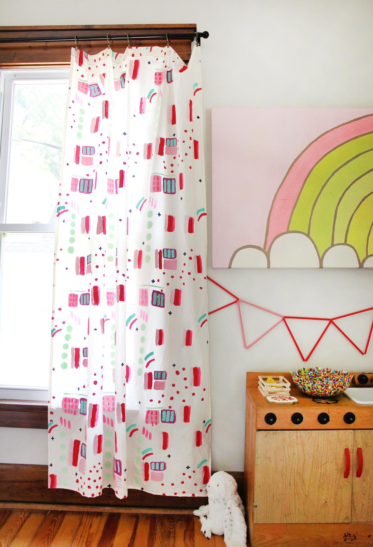 Abstract and Fun Curtain Panel DIY