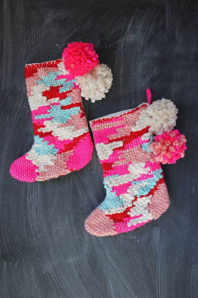 Woven Stocking DIY by Rachel Denbow of SmileandWave.typepad.com for A Beautiful Mess