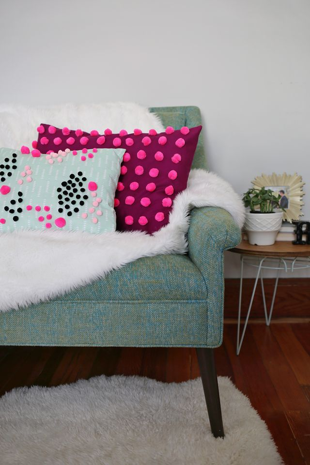 Pom Pom Pillow DIY for www.aBeautifulMess.com